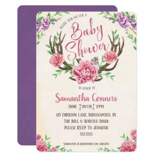 Invitation florale de baby shower de Boho Antler