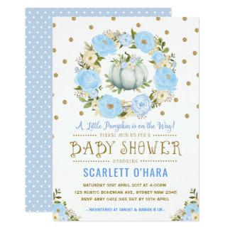 Invitation florale de baby shower de citrouille de
