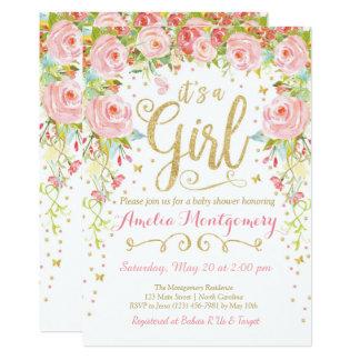 Invitation florale de baby shower de fille de