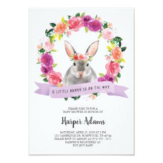 Invitation florale de baby shower de lapin de
