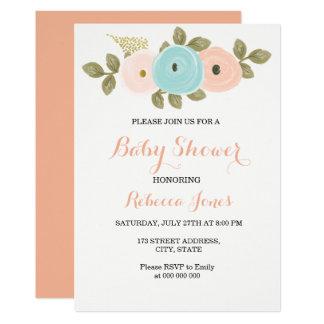 Invitation florale de baby shower de pêche douce
