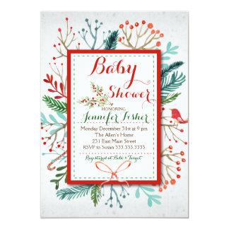 Invitation florale de baby shower d'hiver