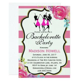 Invitation florale de Bachelorette de rose et de