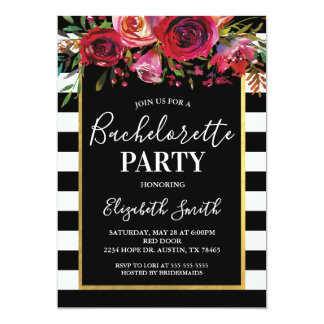 Invitation florale de BacheloretteParty de rayure