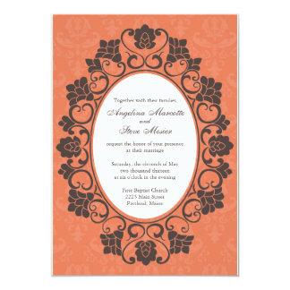 Invitation florale de corail et de Brown mariage