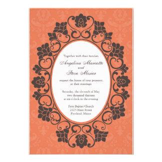 Invitation florale de corail et de Brown mariage d