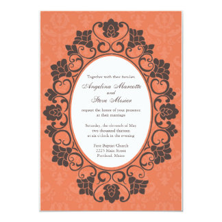 Invitation florale de corail et de Brown mariage Carton D'invitation 12,7 Cm X 17,78 Cm