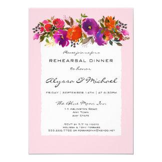 Invitation florale de dîner de répétition
