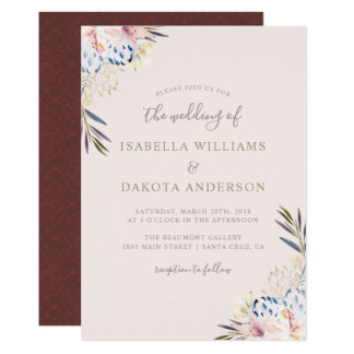 Invitation florale de mariage damassé d'aquarelle