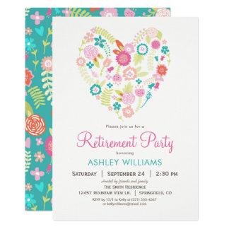 Invitation florale de partie de retraite de coeur