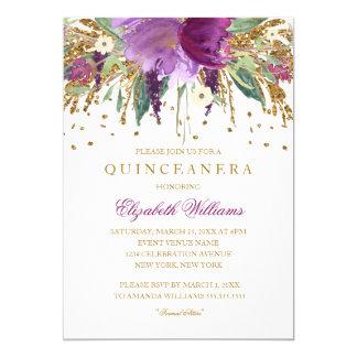 Invitation florale de Quinceanera d'améthyste de