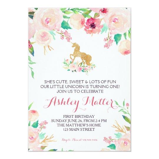 Invitation florale de rose d'anniversaire de