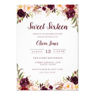 Invitation florale de sweet sixteen de Bourgogne