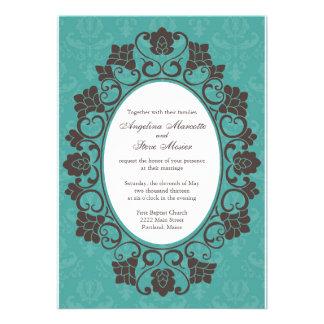 Invitation florale de Teal et de Brown mariage dam