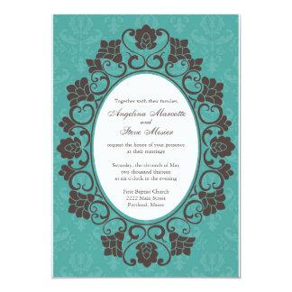 Invitation florale de Teal et de Brown mariage Carton D'invitation 12,7 Cm X 17,78 Cm