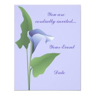 Invitation florale de zantedeschia bleu