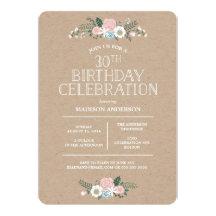 Invitation florale douce de fête d'anniversaire de