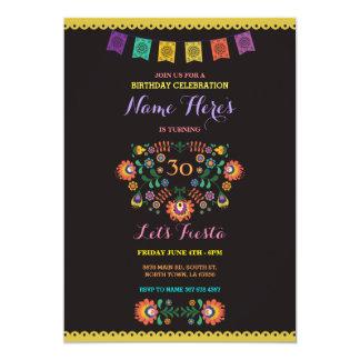 Invitation florale du Mexique d'anniversaire de