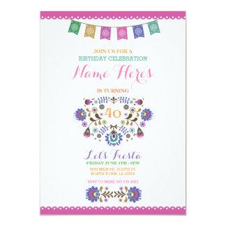Invitation florale du Mexique d'anniversaire rose