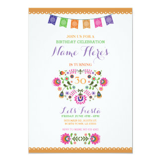 Invitation florale du Mexique de fête