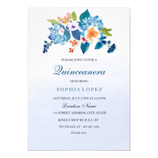 Invitation florale en pastel de Quinceanera de