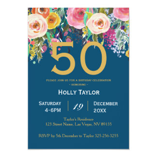 Invitation florale et cinquantième d'anniversaire
