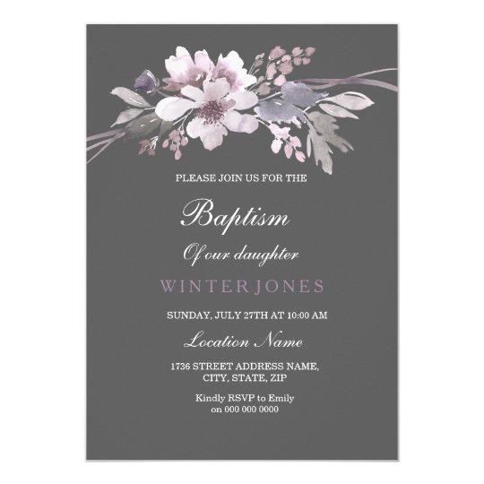 Invitation florale grise de baptême de bel hiver