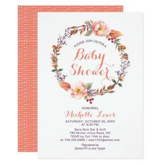 Invitation florale moderne de baby shower