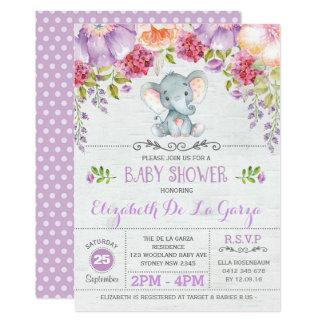 Invitation florale pourpre de douche de bébé
