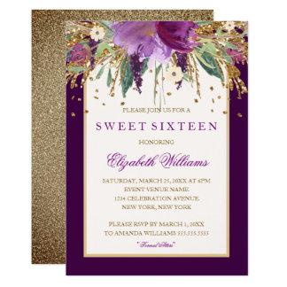 Invitation florale pourpre de sweet sixteen