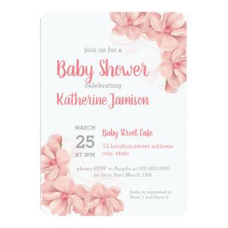Invitation florale rose de baby shower