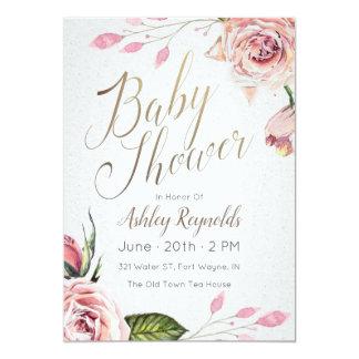 Invitation florale rose de thé de baby shower