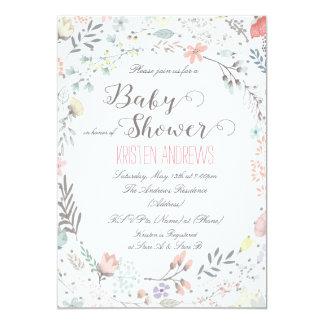 Invitation florale rustique II de baby shower