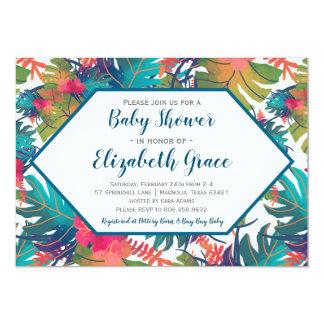 Invitation florale tropicale de baby shower