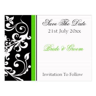 Invitation florale verte blanche noire, le 21 cartes postales