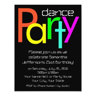 Invitation fluorescente de soirée dansante de