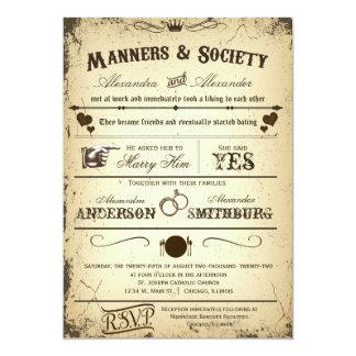 Invitation formel 2 de mariage d'intrigue vintage