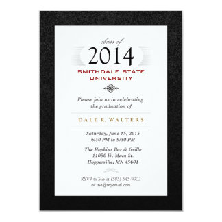 Invitation formel blanc et rouge noir de diplômé carton d'invitation  12,7 cm x 17,78 cm