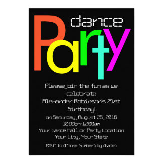 Invitation futuriste de soirée dansante de l amuse