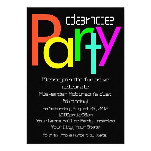 Invitation futuriste de soirée dansante de l'amuse