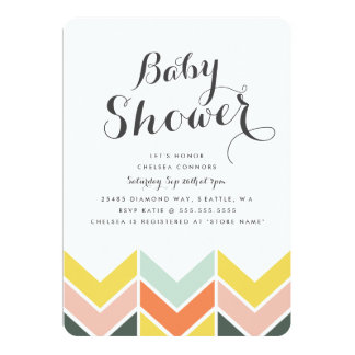 Invitation gai de baby shower de Chevron