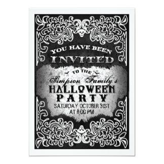 Invitation gothique noire et blanche de partie de