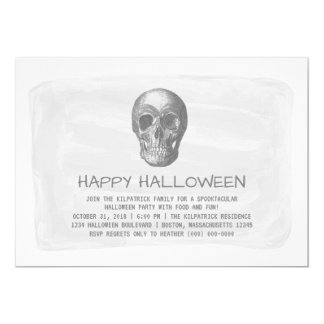 Invitation gris de partie de Halloween de crâne