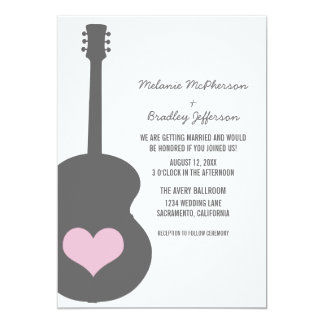 Invitation gris/rose de mariage de coeur de