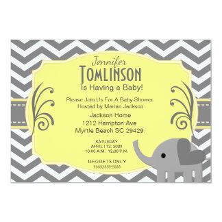 Invitation grise et jaune neutre de baby shower