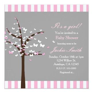 Invitation grise moderne de baby shower d'arbre de