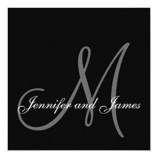 Invitation grise noire de monogramme de mariage carton d'invitation  13,33 cm