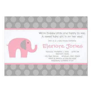 Invitation grise rose de baby shower d'éléphant
