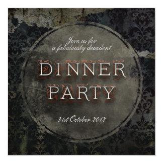 Invitation grunge gothique noire de dîner