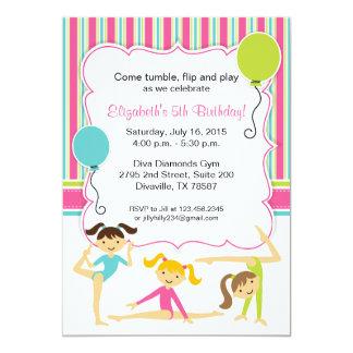 Invitation gymnastique de fête d'anniversaire de